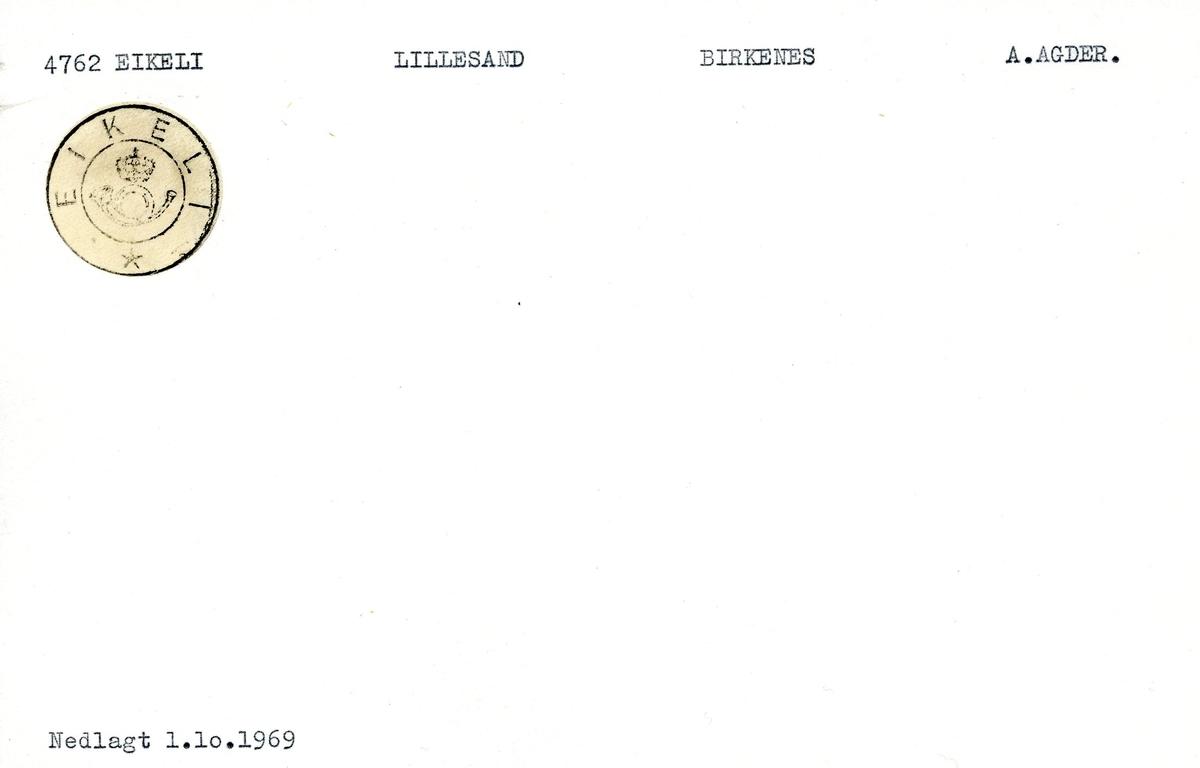 Stempelkatalog,4762 Eikeli, Lillesand, Birkenes, Aust Agder