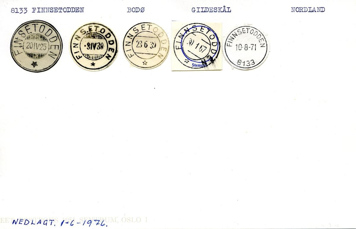 Stempelkatalog, 8133 Finnsetodden, Bodø postkontor, Gildeskål kommunne, Nordland fylke.
