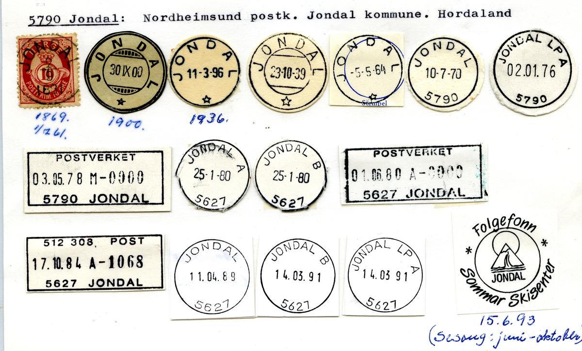 Stempelkatalog. 5790 Jondal, Norheimsund postk., Jondal kommune, Hordaland