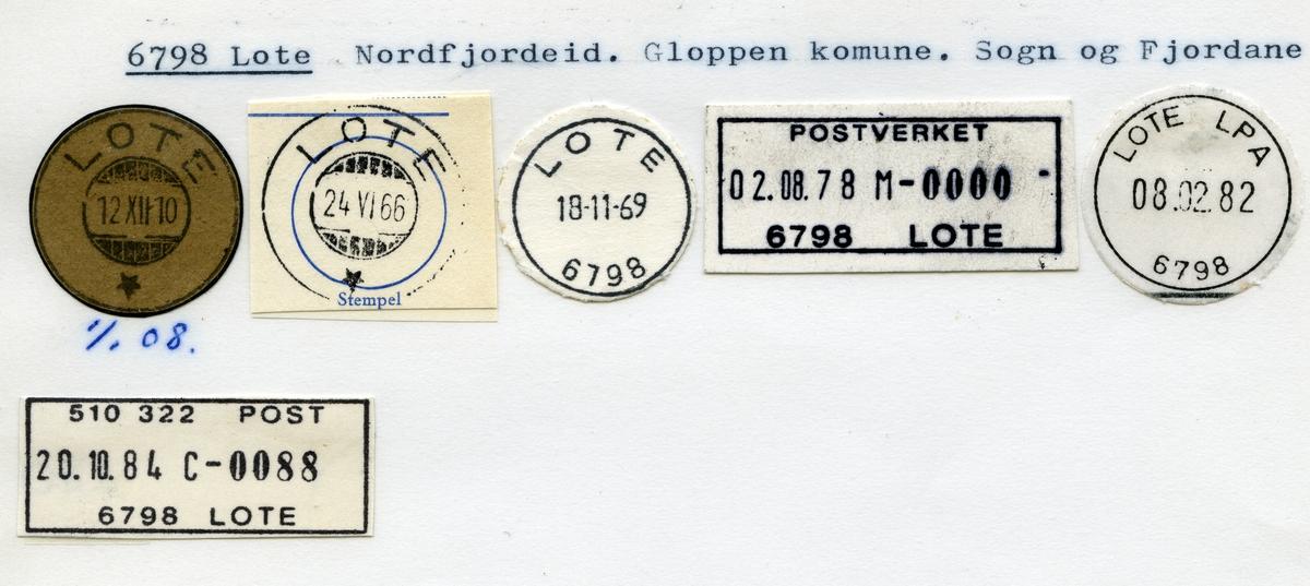 Stempelkatalog,6798 Lote, Nordfjordeid, Gloppen kommune, Sogn og Fjordane