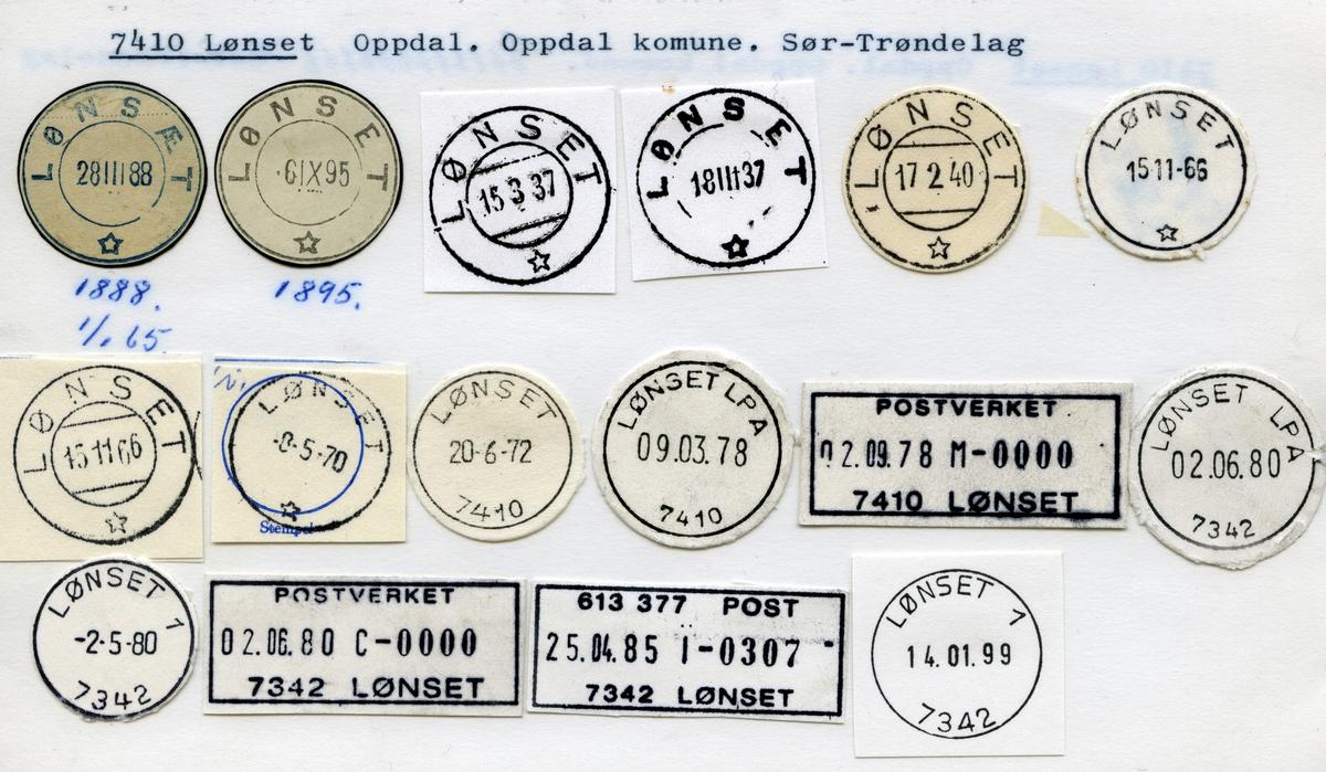 Stempelkatalog, 7410 Lønset, Oppdal kommune, Sør-Trøndelag