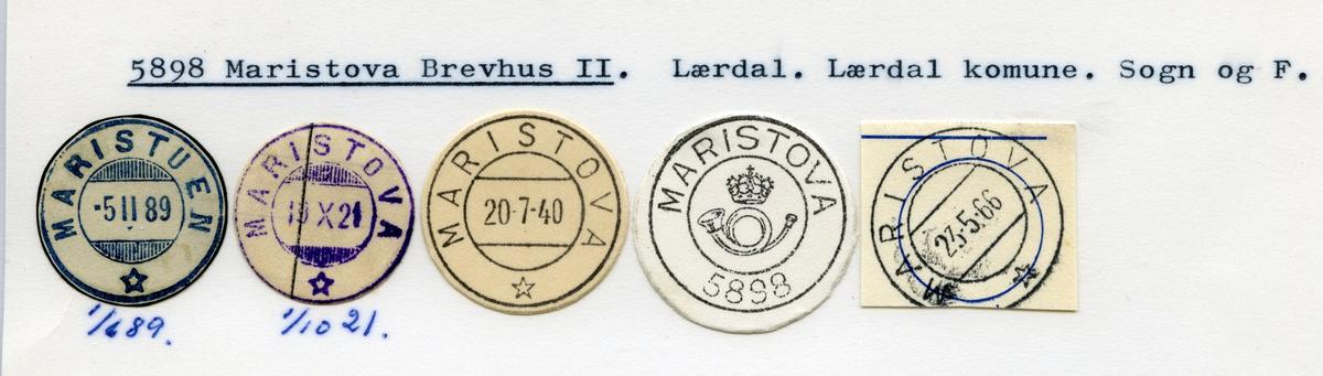 Stempelkatalog, 5898 Maristova, Lærdal kommune, Sogn og Fjordane