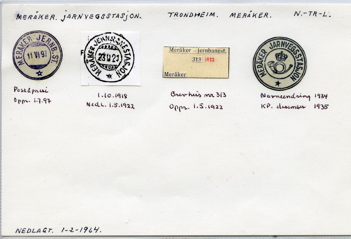 Stempelkatalog  Meråker jarnvegstasjon, Meråker, Nord-Trøndelag