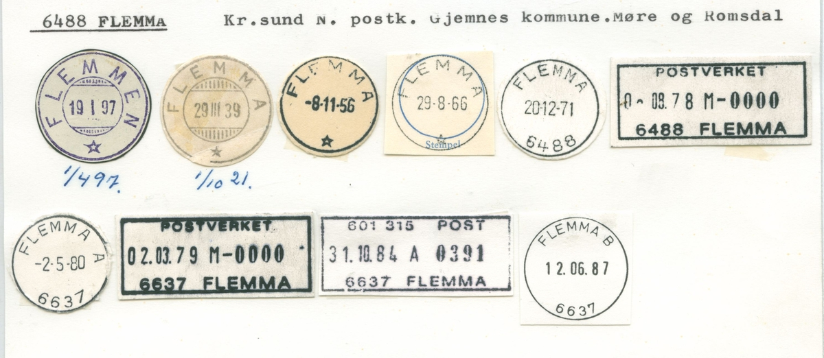 Stempelkatalog, 6488 Flemma (Flemmen), Gjemnes, Møre og Romsdal