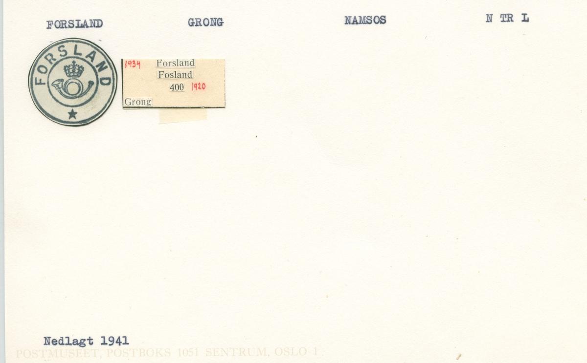 Stempelkatalog.Forsland, Grong, Namsos, N.Tr.lag