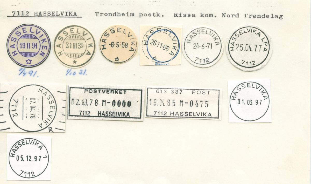 Stempelkatalog. 7112 Hasselvika. Trondheim postkontor. Rissa kommune.Sør-Trøndelag fylke.