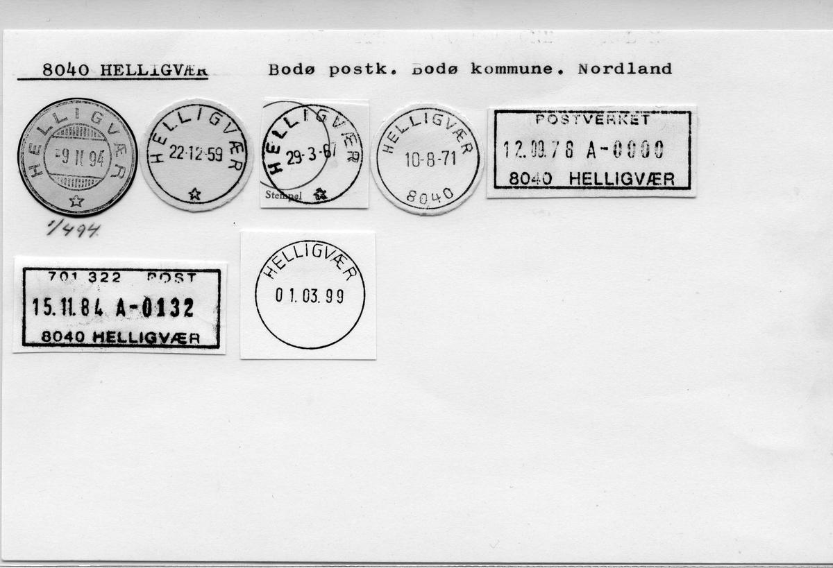 Stempelkatalog. 8040 Helligvær. Bodø postkontor. Bodø kommune. Nordland fylke.