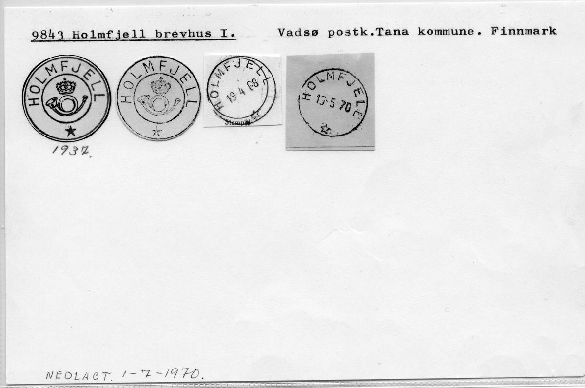 Stempelkatalog. 9843 Holmfjell brevhus I. Vadsø postkontor. Tana kommune. Finnmark fylke.