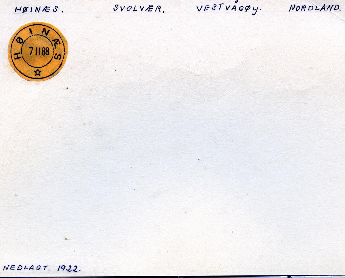 Stempelkatalog Høinæs, Svolvær, Vestvågøy, Nordland