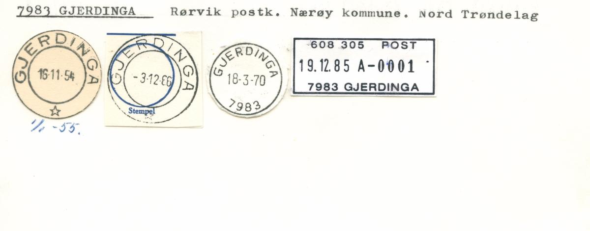 Stempelkatalog 7983, Gjerdinga, Rørvik, Nærøy, Nord-Trøndelag