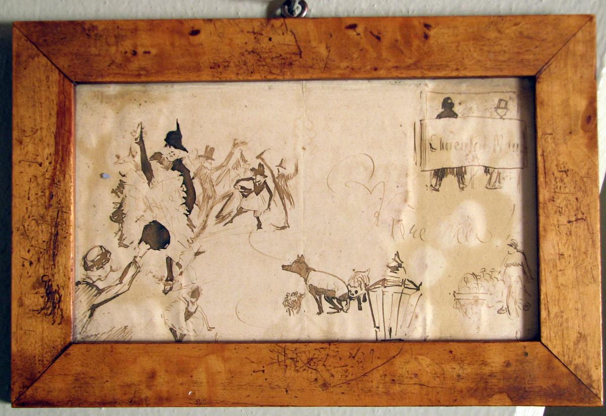 Rektangulær, Forskj. figurscener: dansere, hunder, mann m. drakjerre