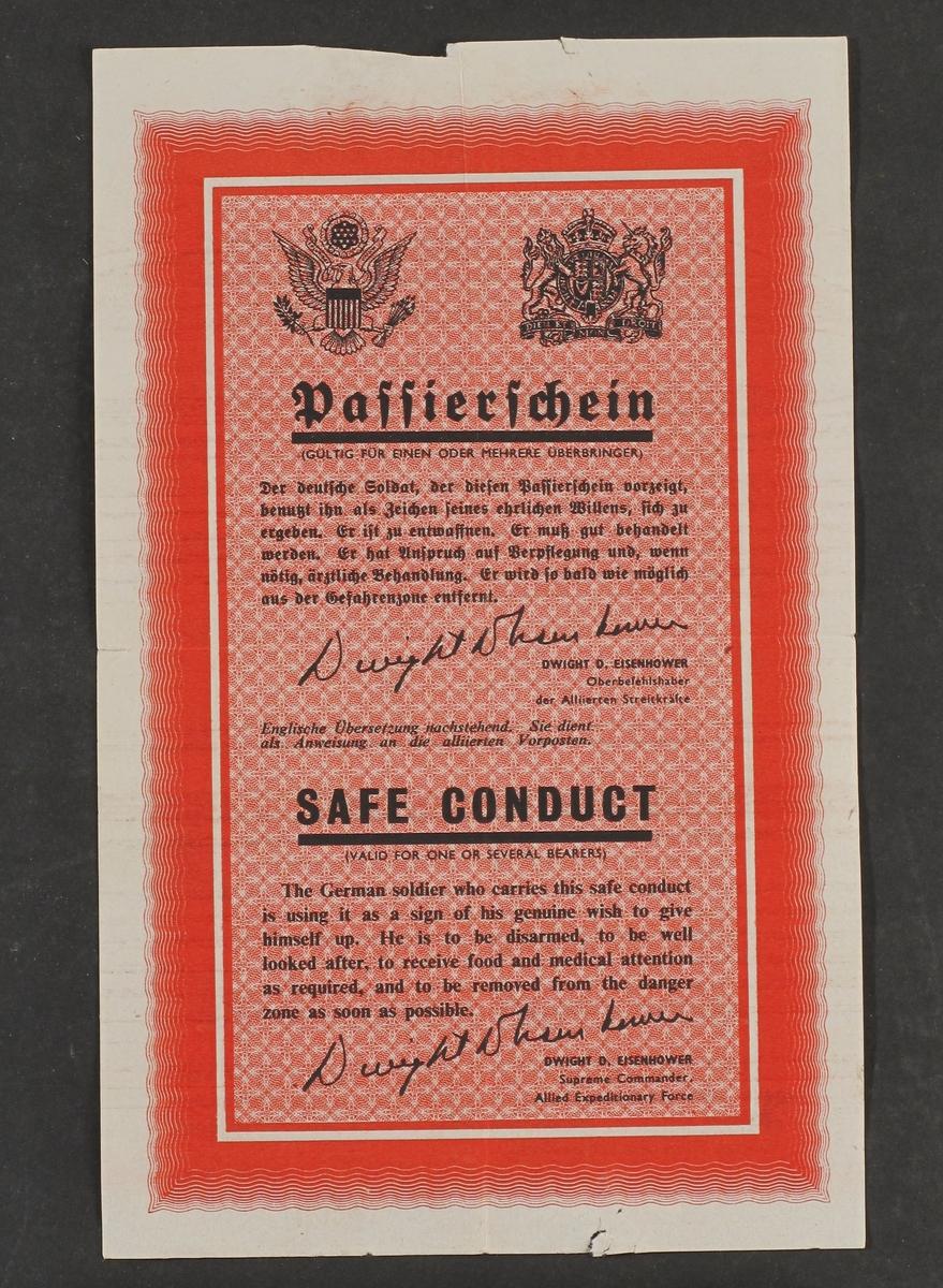 """flyveblad: Passierschein, Safe gonductll,bakgide:  Grinds<qtze Kriegsgefangenrechts.""""Sort trykk på  rødt.antag. 1944 45."""