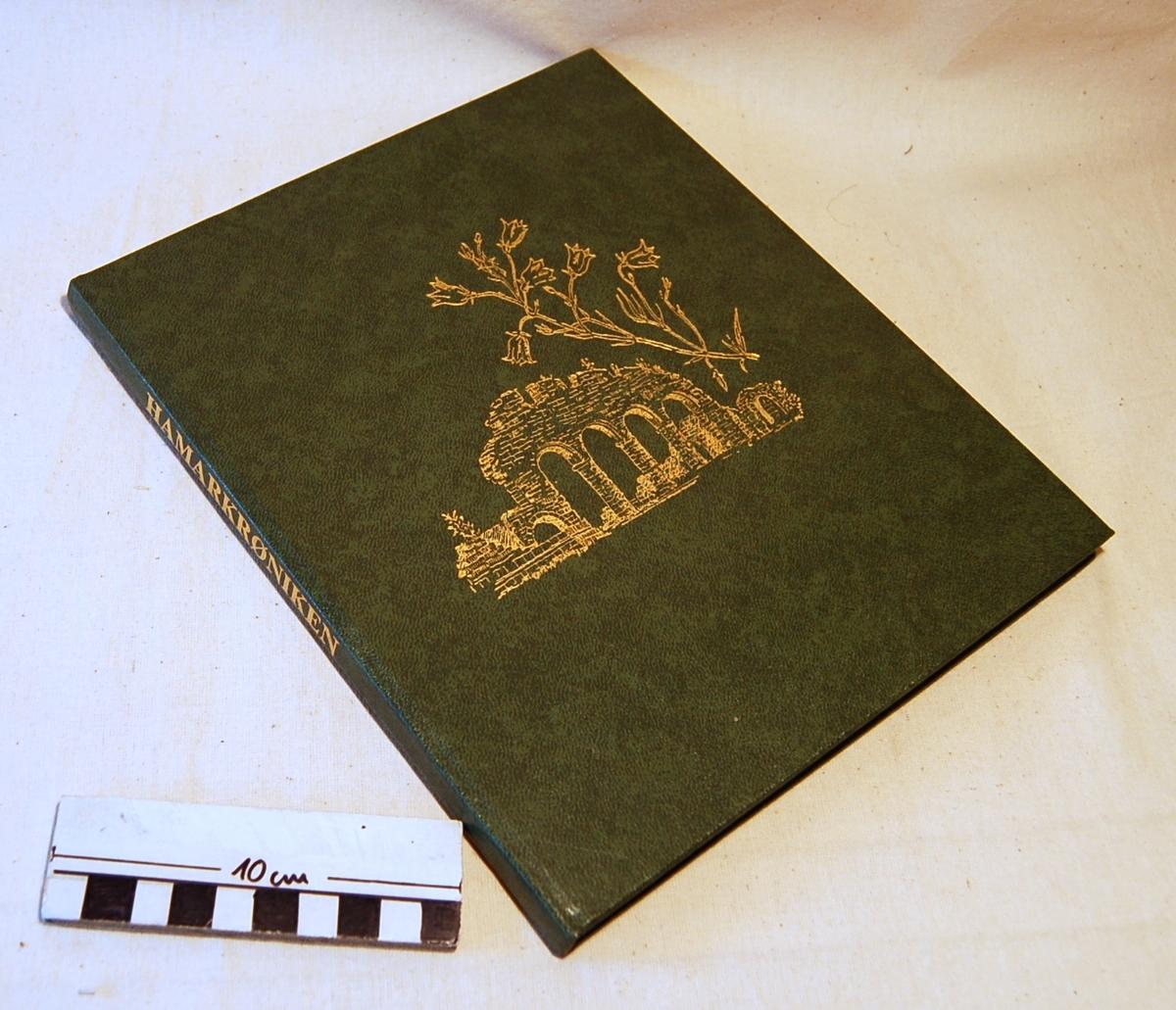 På bokens forside motiv av Domkirkeruinen i gulltrykk