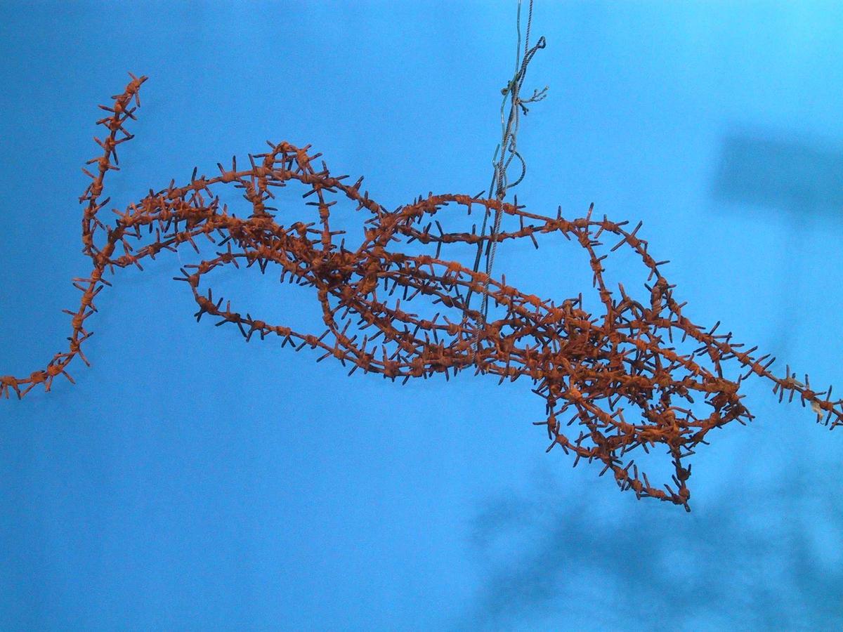 Piggtråd, rusten, avklipte biter.