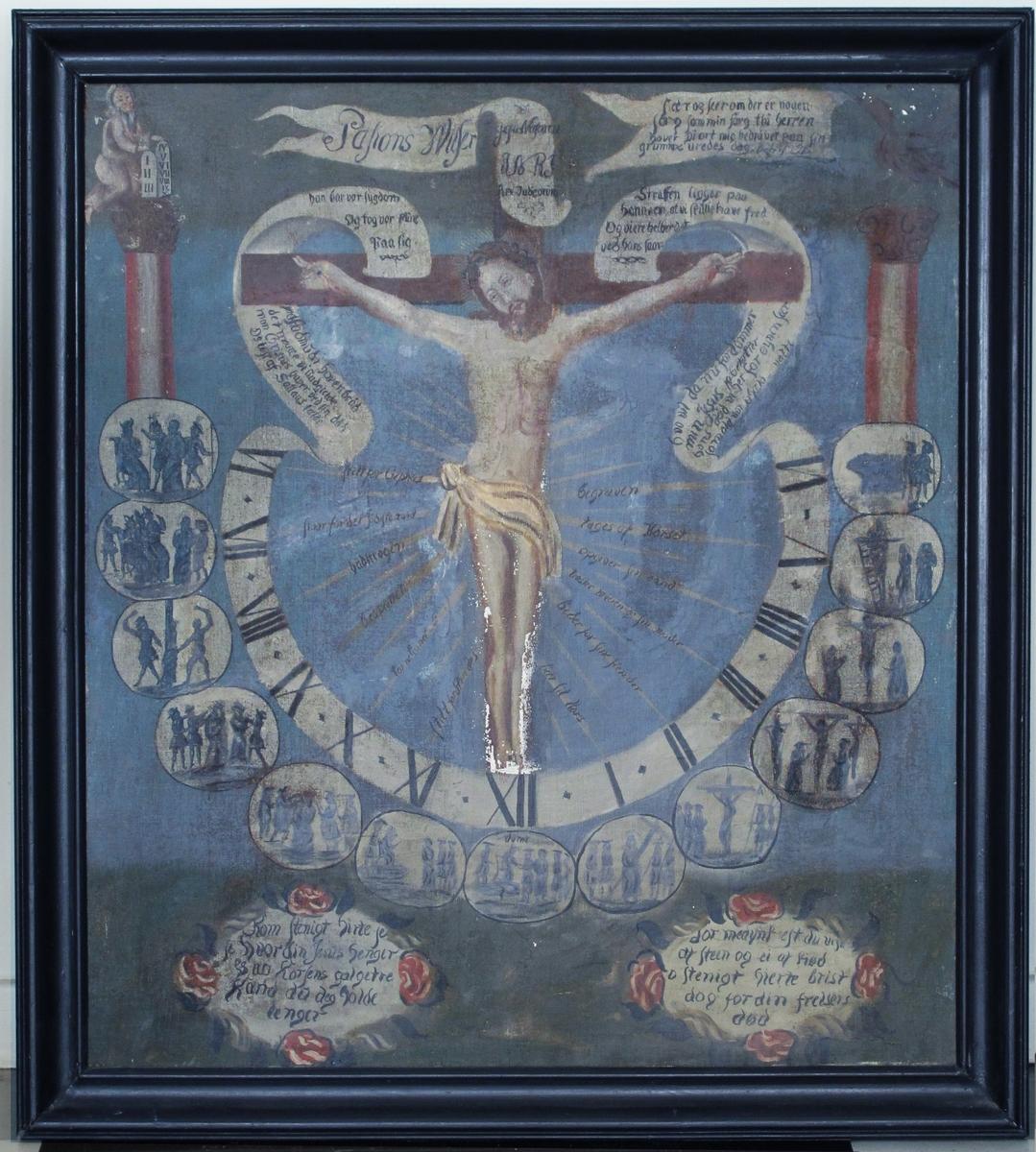 Jesu lidelseshistorie. Jesus på korset, omkranset av markeringer time for time.