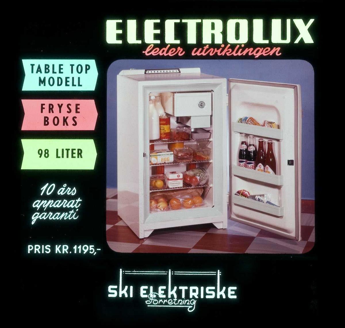 Kinoreklame fra Ski for Electrolux kjøleskap m/fryseboks. Ski elektriske forretning.