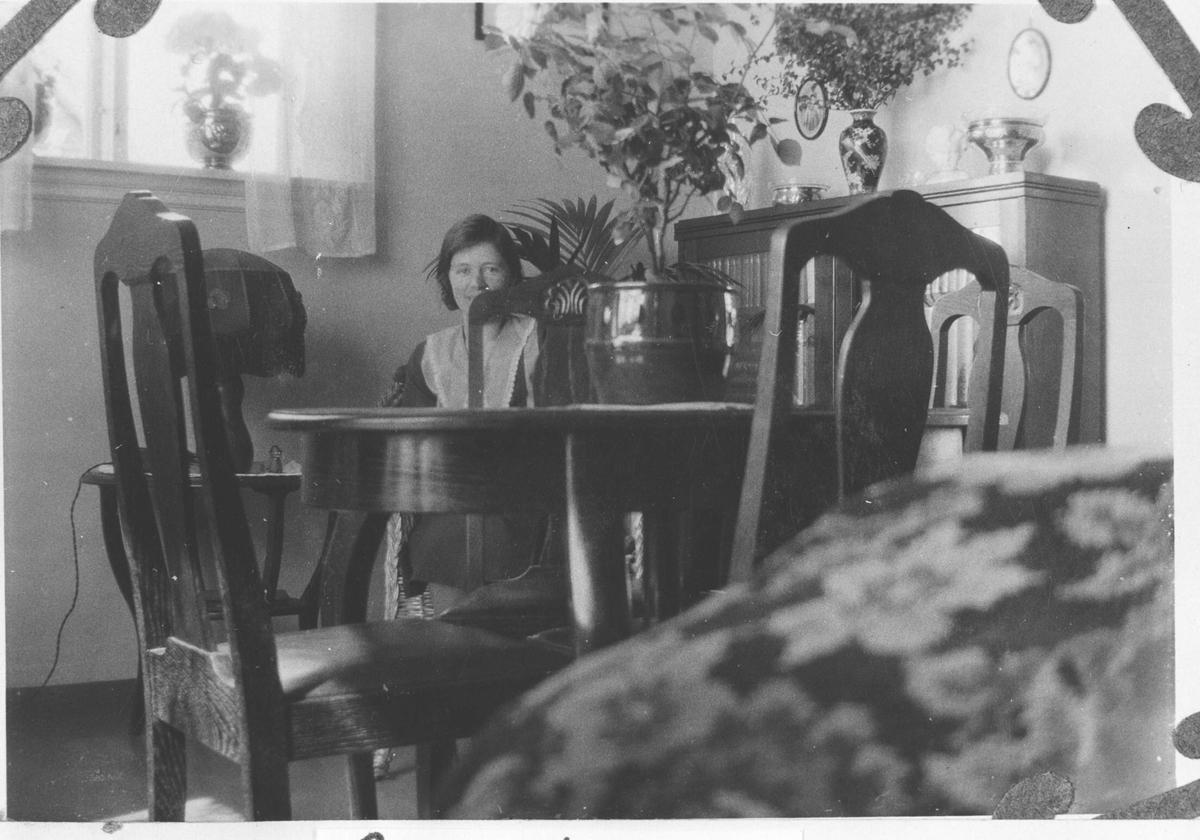 Stueinteriør med en person. ( Hilda Stjernesund).