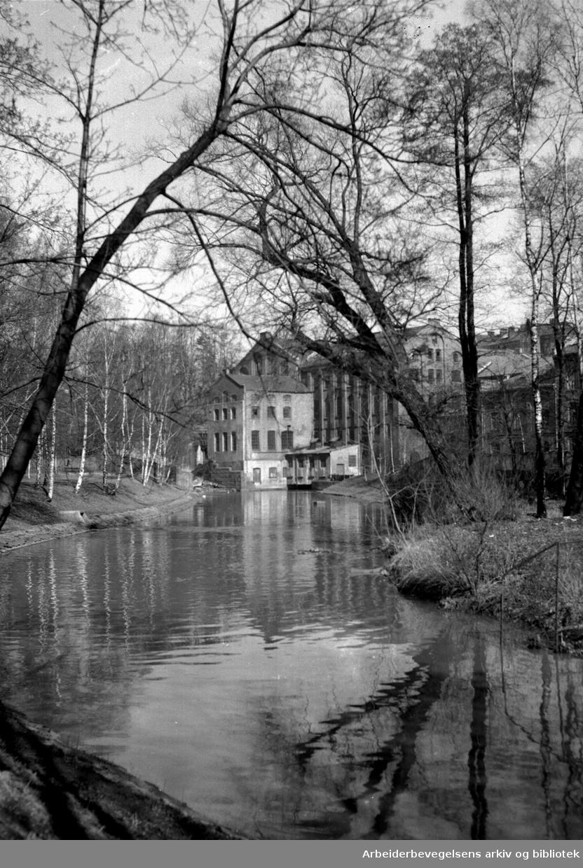Akerselva ved Seilduken, .april 1956