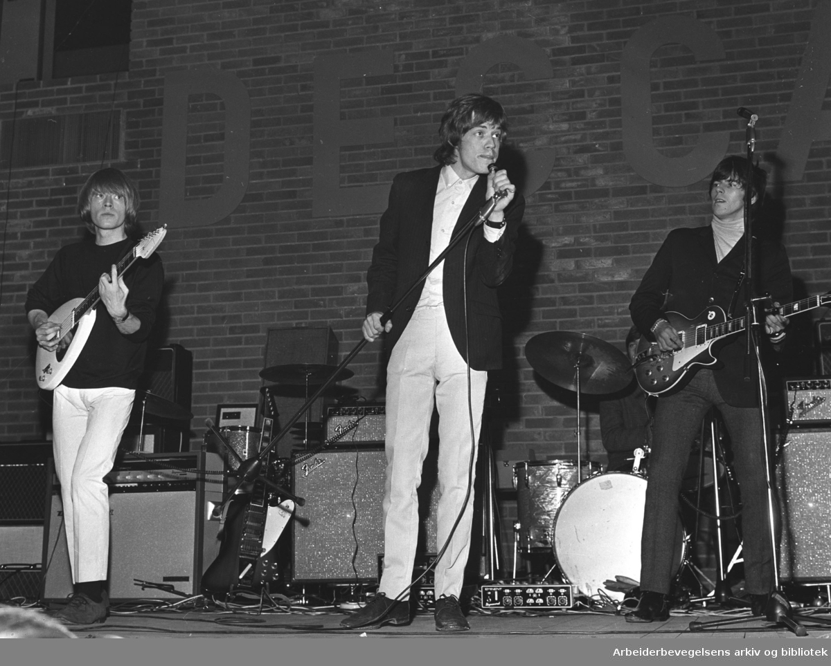 The Rolling Stones i Oslo,.juni 1965..Fra v.: Brian Jones, Mike Jagger og Keith Richards.