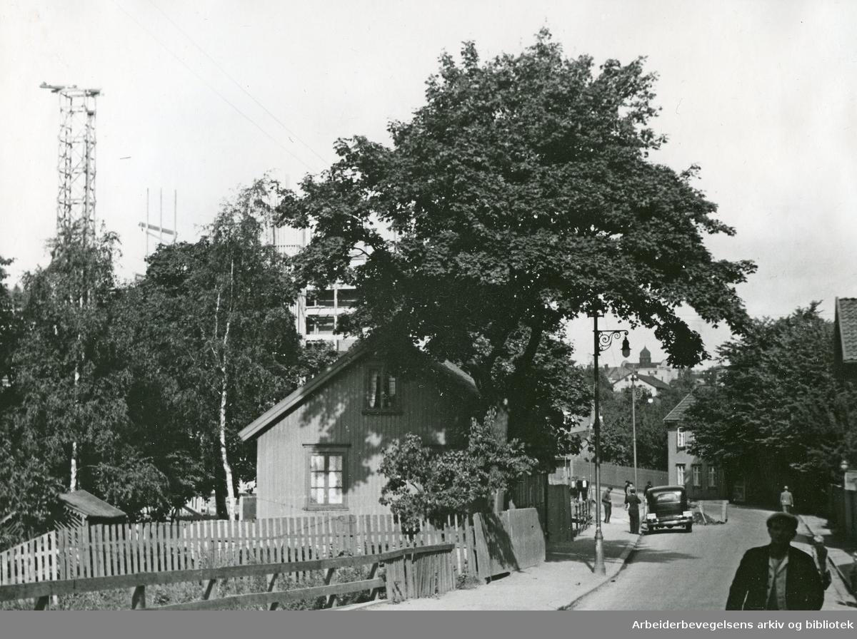 Maridalsveien med Sagene politistasjon til høyre,.1939