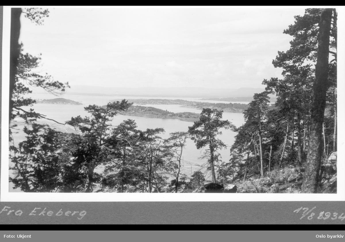 Utsikt fra Ekebergskråningen (Byskogen) mot Sjursøya, Bleikøya, Hovedøya, Lindøya og Gressholmen.