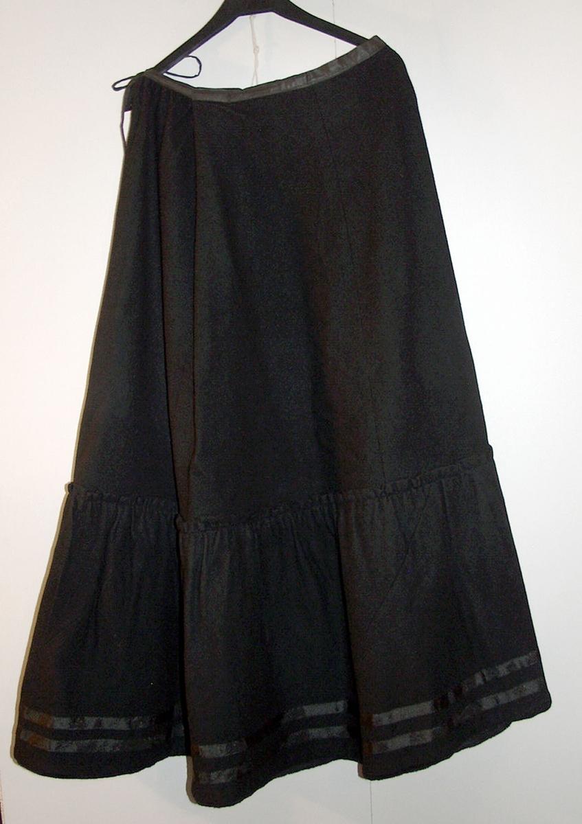 Form: Skrådd skjørt med kappe og kø bak, skoning og slitesnor
