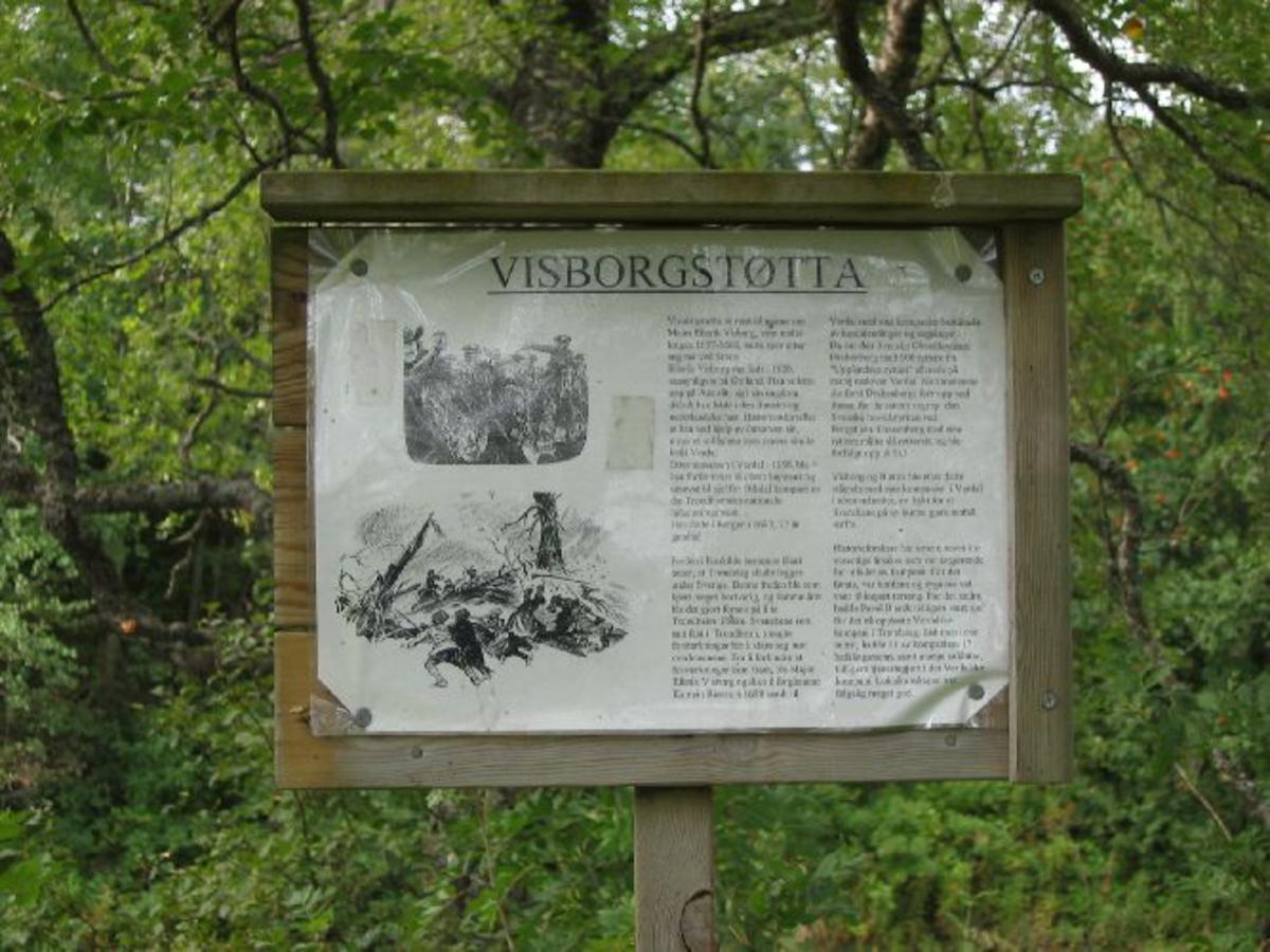 Opplysningstavle med opplysninger om hva som skjedde i 1658
