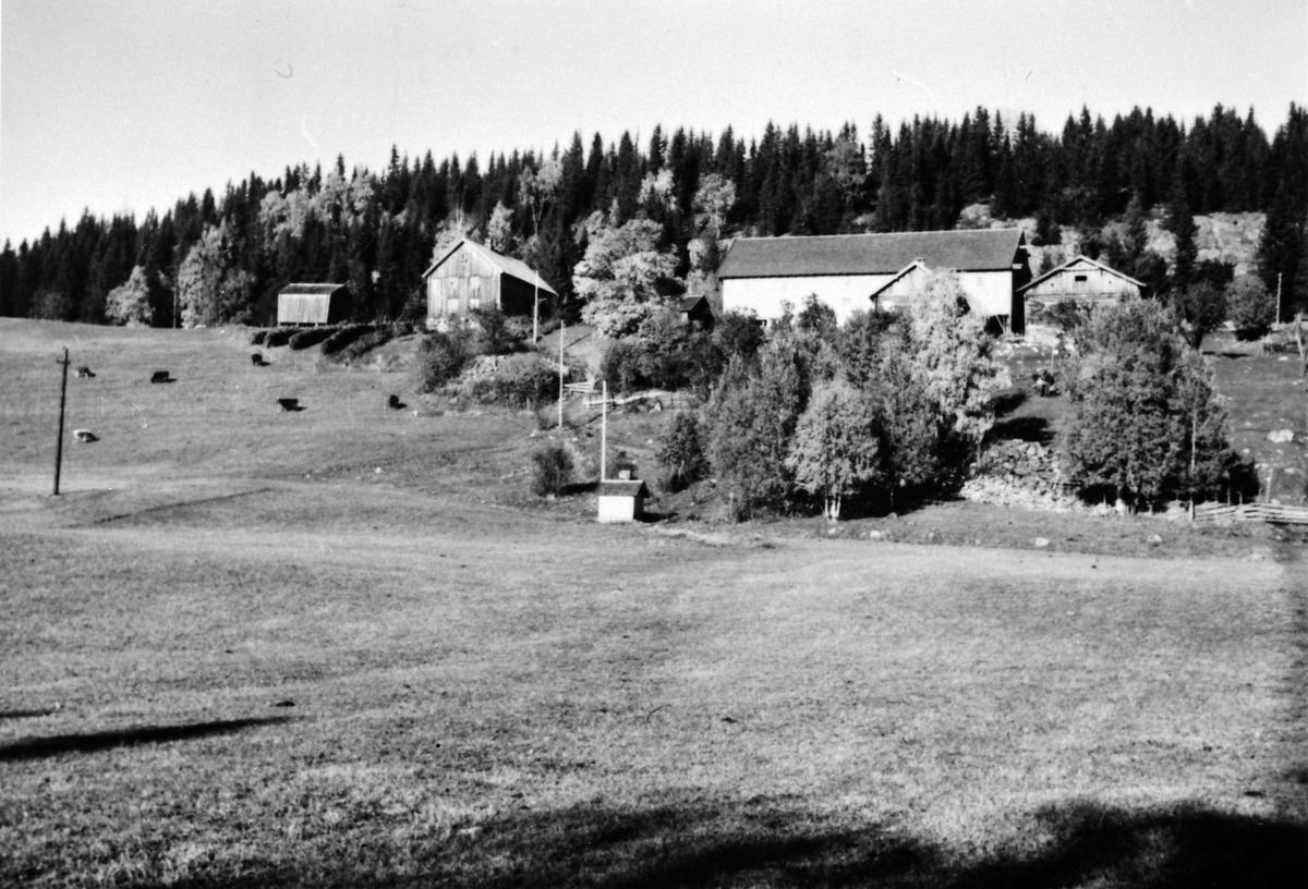 Øveråsen gård, Åsmarka, Ringsaker. Ny hovedbygning ca. 1955. Bilde tatt før rivning.