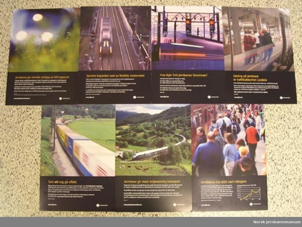 Plakater fra Jernbaneverket med faktainformasjon om jernbanen