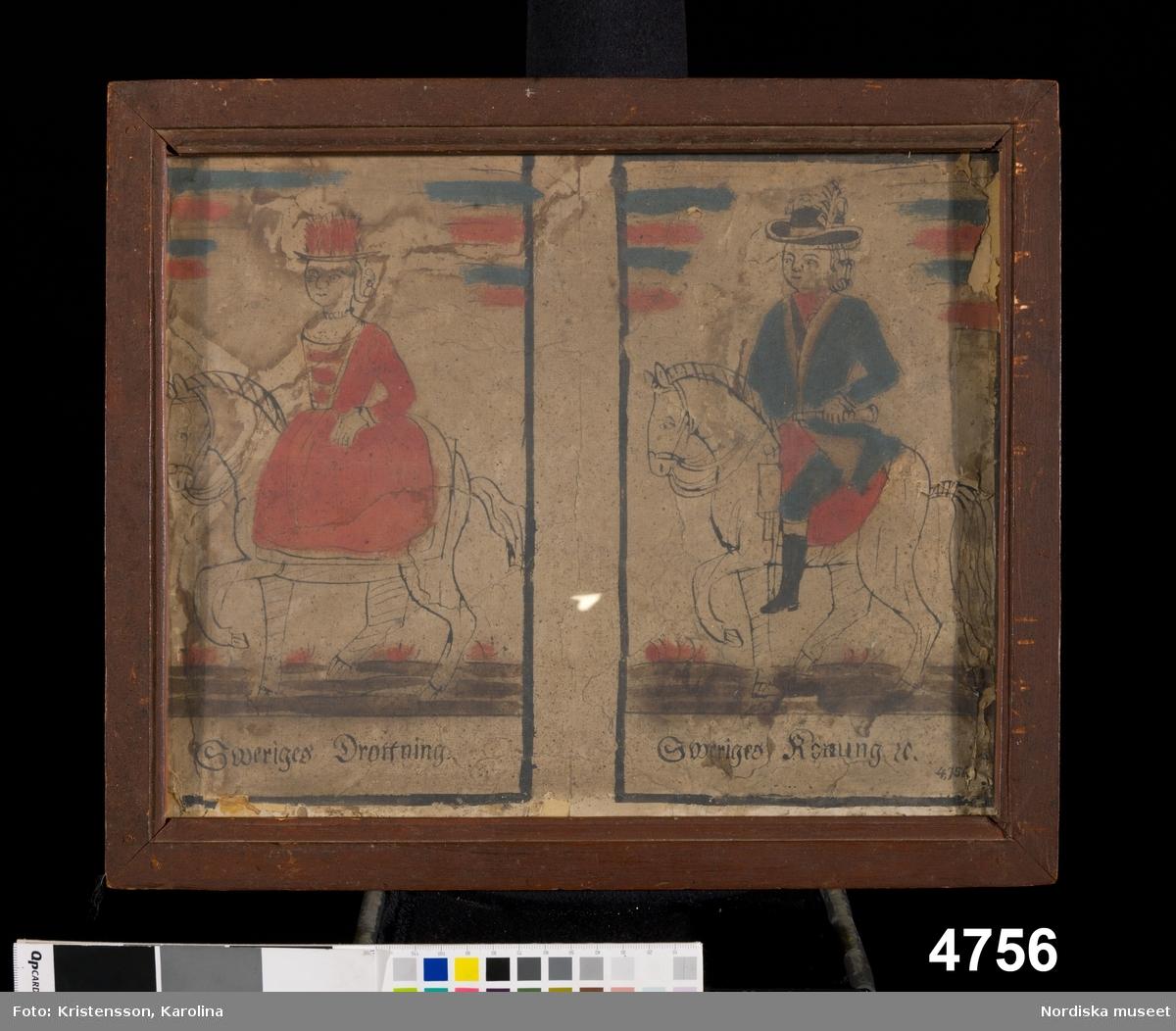 """Huvudliggaren: Tafla. Föreställande 'Sveriges Drottning' och 'Sveriges Konung'. Antagligen fr. kapten V. Engelkes sändning, se 4620. Ank 5/6 1874."""""""