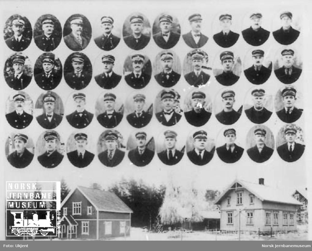 Gruppebilde fra Eidanger med stasjonsbygningen og portrettbilder av 40 personer