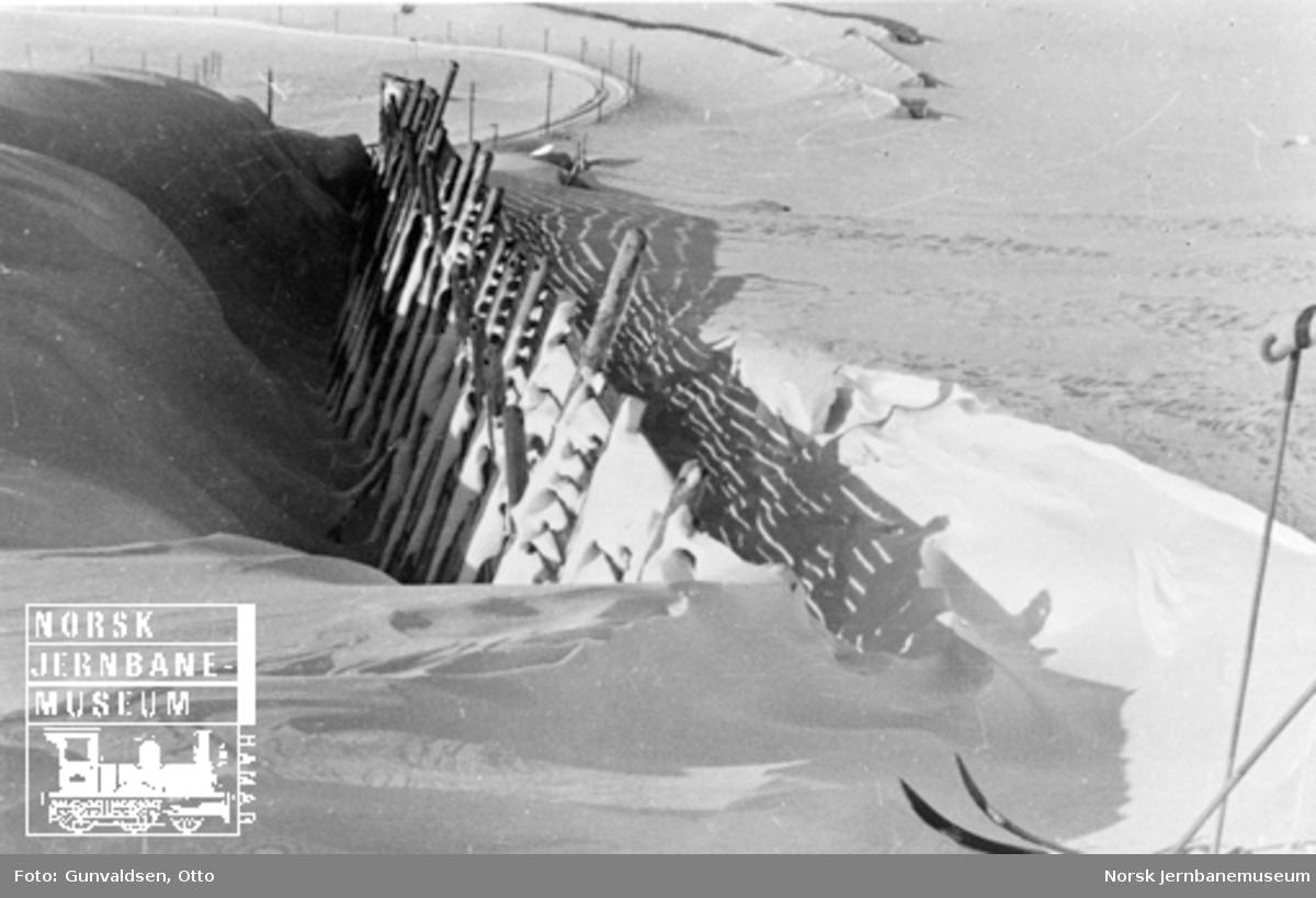 Karakteristisk avlagring av snø ved snøskjerm vest for Finse
