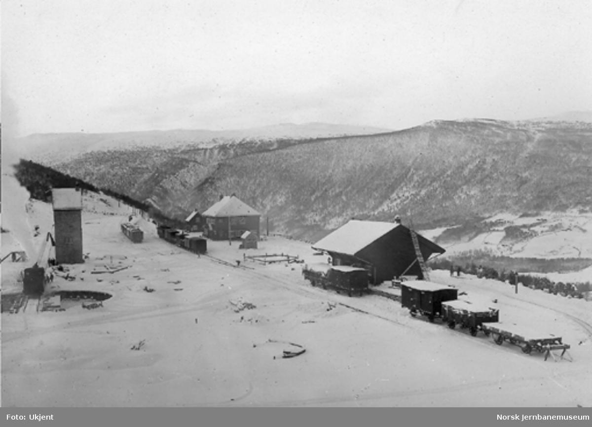Oversiktsbilde over Dombås stasjon kort tid etter banens åpning : blandet tog i spor 1, persontog i spor 2 og damplokomotiv på svingskiva
