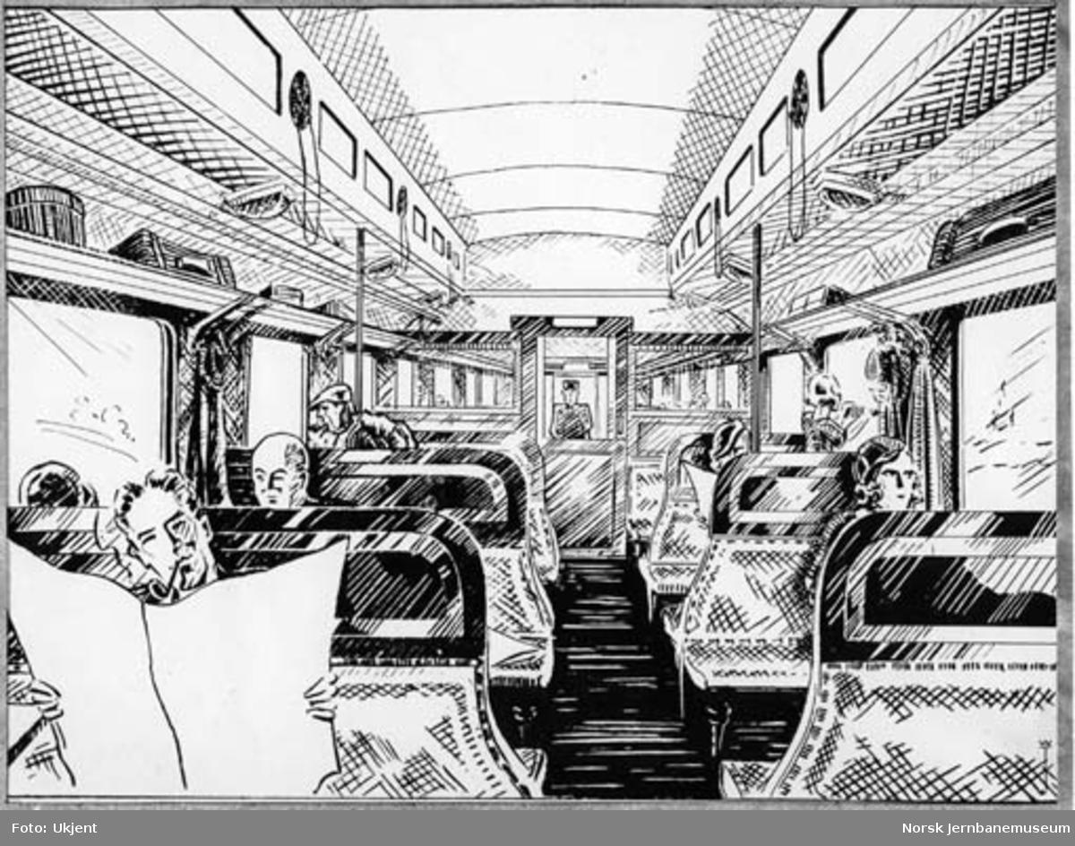 Foto av strektegning av interiøret i personvogn for 3. klasse, litra Co3a