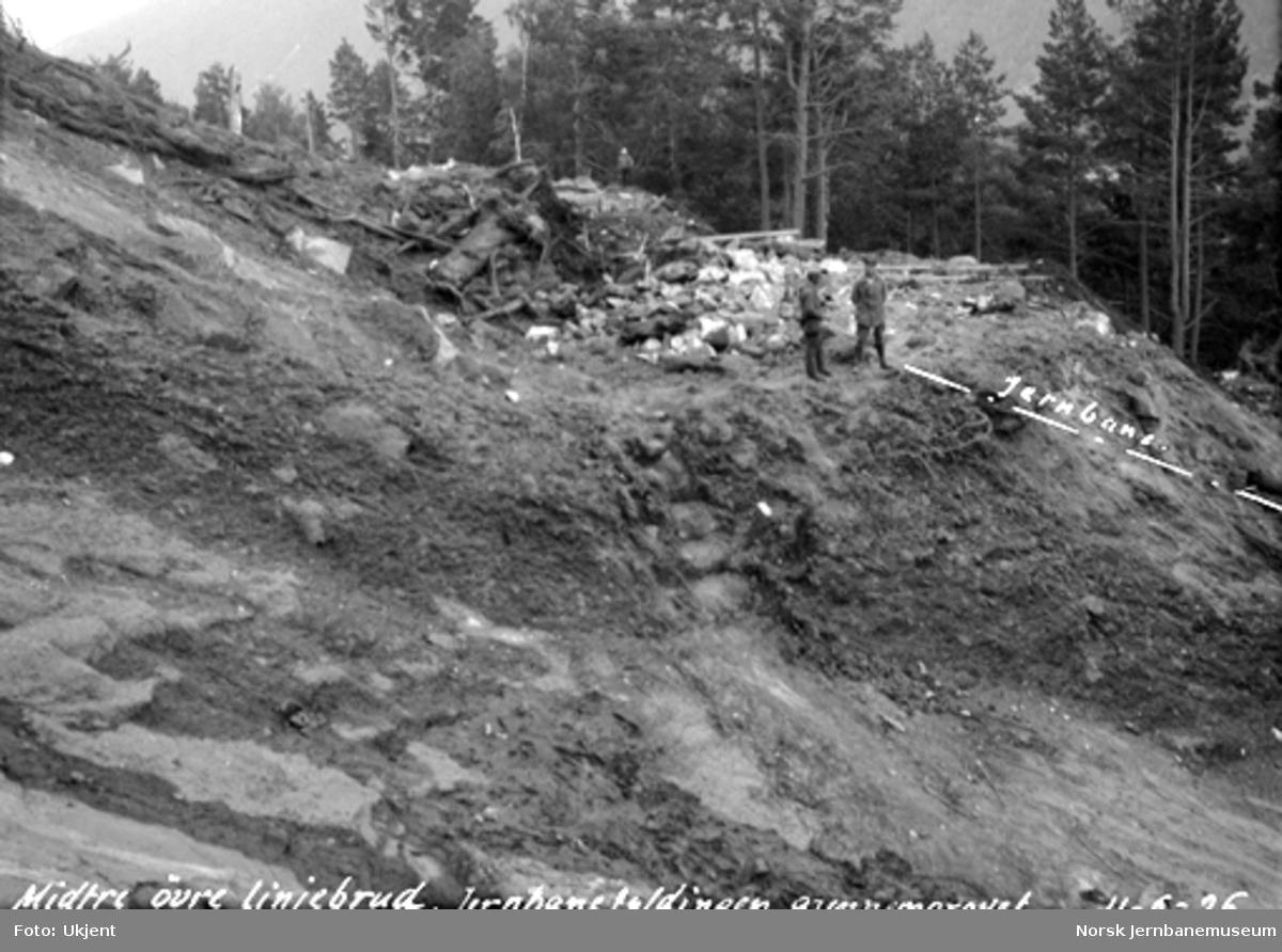 Jordskred ved Verma 9.6.1926 : midtre og øvre linjebrudd på jernbanen
