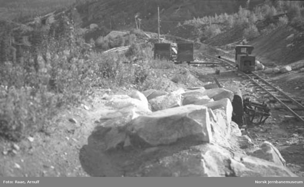 Graving av traug ved skjæring 274; Demag-anleggslokomotiv på decauvillesporet