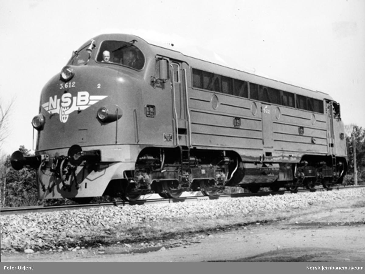 Diesellokomotiv type Di 3 nr. 612 ved levering fra NOHAB