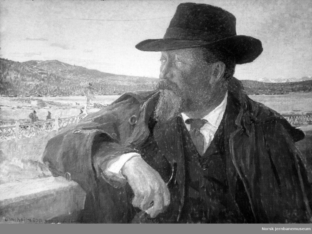 Foto av et maleri av disponent Hjalmar Lundbohm (Lapplandskongen) i LKAB